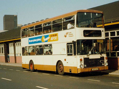 The most distinctive buses in Sheffield in the 1980s were the Volvo Ailsas with Van Hool McArdle bodywork. 380 (LWB380P) was seen on Pond Street on 25th April 1984.