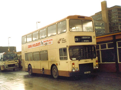 Also seen on 21st December 1983 was nearly new Northern Counties bodied Dennis Dominator 2316 (A316XAK). I do wish I had photographed the ex Dearneways coach behind!
