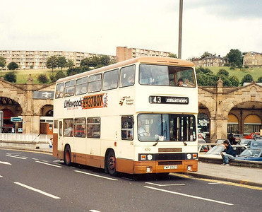 South Yorkshire Transport was seemingly allergic to the Leyland Olympian. Two were operated for a short period before being sold to Chesterfield Transport. Both were ordered by West Yorkshire PTE with bodywork by Roe to that operator's specification, as can be seen in this shot of 502 (TWF202Y) on Sheaf Street on 6th August 1985.