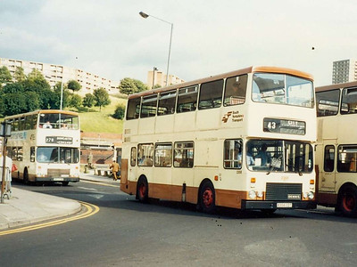 South Yorkshire Transport 2358 (B358EDT), one of the Dennis Dominators with bodywork built by East Lancs to the Alexander design: Harmer Lane, 6th August 1985.