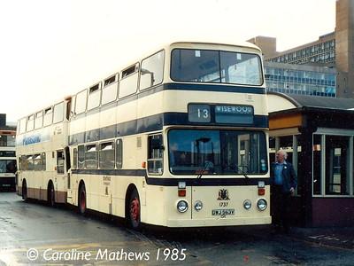 South Yorkshire Transport 1737 (DWJ563V), Sheffield Central Bus Station, 5th August 1985