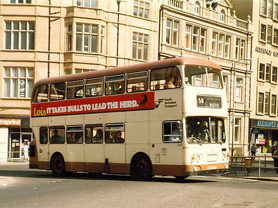 Daimler Fleetline/ALexander 252 (NWA252K) heading from Church Street into West Street in Sheffield on 25th April 1984.