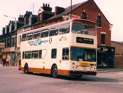 South Yorkshire Transport 683 (HWJ683J), a Park Royal bodied Daimler Fleetline on London Road, Sheffield, on 29th June 1983