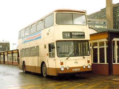 South Yorkshire Transport Roe bodied Leyland Atlantean AN68A/1R 1748 (CWG748V) in Sheffield's Central Bus Station on a wet 21st December 1983.
