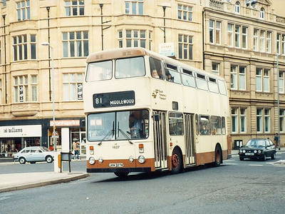 Also at the junction of Leopold Street and Church Street on 6th August 1985 was Marshall bodied Leyland Atlantean 1827 (JKW327W).