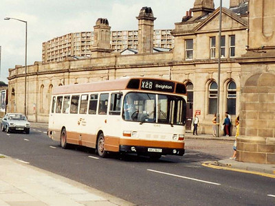 Leyland National 1060 (AKU160T) on Sheaf Street on 6th August 1985 was one of a batch built for the National Bus Company but diverted to South Yorkshire due to a vehicle shortage.