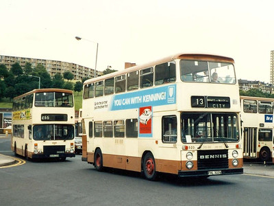 East Lancs bodied Dennis Dominator 523 (FHL323V) was one of a pair ordered by one of the Doncaster independent operators (I think it was Blue Line) bought by the PTE before the buses were delivered. It is seen on Harmer Lane on 5th August 1985.