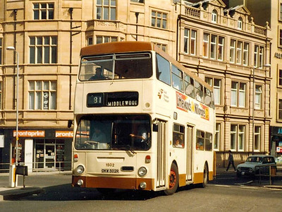 Going round the roundabout at the junction of Leopold Street, West Street and Church Street on 25th April 1984 is Leyland Fleetline 1502 (OKW502R) with MCW bodywork based on the style used on London Transport's DMSs.