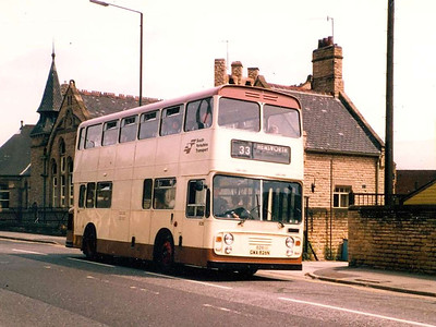 South Yorkshire Transport 826 (GWA826N), a Daimler Fleetline with unusual ECW bodywork, passing Lowfields School on London Road, Sheffield, 29th June 1983.
