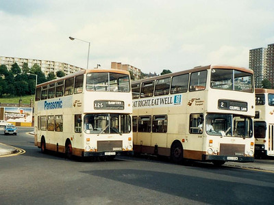 Alexander bodied Dennis Dominators 2271 (SDT271Y) and 2126 (KKU126W) on Harmer Lane on 6th August 1985.