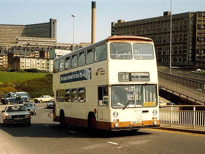 South Yorkshire East Lancs bodied Leyland Atlantean 311 (UWA311L) on Commercial Street, Sheffield on 25th April 1984.