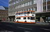 In January 1981 CK Coaches (Cardiff) Ltd applied for short period licences to operate stage carriage services between the centre of Cardiff and Cyncoed and Llanrumney. Former London Transport DMS1586 (THM 586M) a 1973 Daimler Fleetline/MCW H44/24D is seen in Wood Street, Cardiff.
