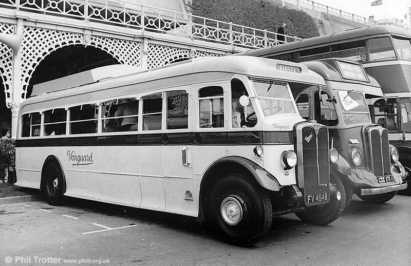 AEC Regal FV 4548 at Brighton, during the HCVC London to Brighton run. This was formerly Standerwick 39/Ribble DS1, with Beadle C32R rebodied  c.1948 with an English Electric C31R body from HG 2759, ex Standerwick Tiger TS6, built 5/34. To C30R in 1970s. It was restored by its Swansea owners in the livery of Gower Vanguard Motors.
