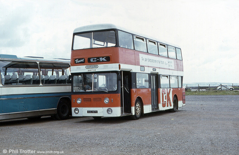 CK ex-WMPTE 3917 (SOE 917H), a 1969 Daimler Fleetline/Park Royal H47/33D, seen on private hire work at Porthcawl.