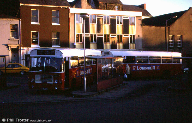 A pair of Davies Bros. Bristol LH6Ls/ECW B45F with NDE 916R leading, seen at Carmarthen.