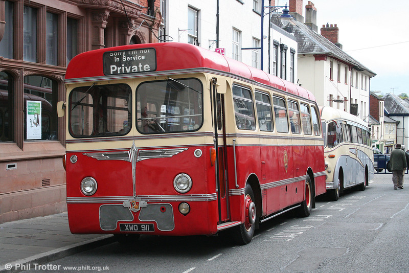 New to Hill's, Tredegar in 1960 was XWO 911, a Leyland Leopard L1/Burlingham B45F. Seen at Abergavenny on 4th May 2009.