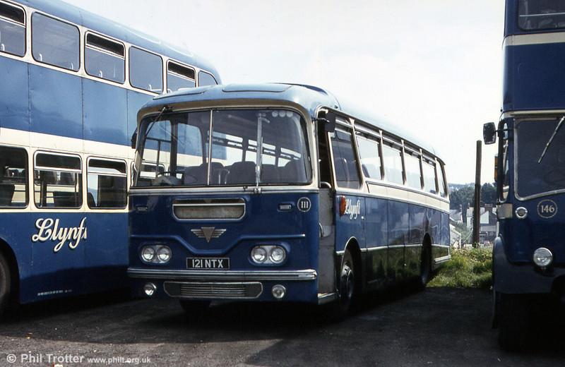 Llynfi 111 (121 NTX) was a 1962 AEC Reliance/Harrington C41F which had been new to Thomas Bros. (Port Talbot) Ltd.