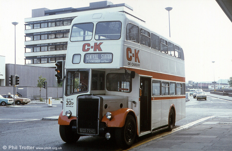 "CK Cardiff, ex-Warrington BED 724C, a 1965 PD2/East Lancs H39/30F with 7' 6"" bodywork seen waiting to depart from Wood Street for Cyncoed."