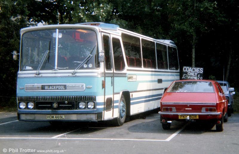 Hawkes, Swansea HOM 469L was a 1973 Bedford YRT/Caetano Estoril II C53F acquired from Reynolds, Maerdy in 1981.