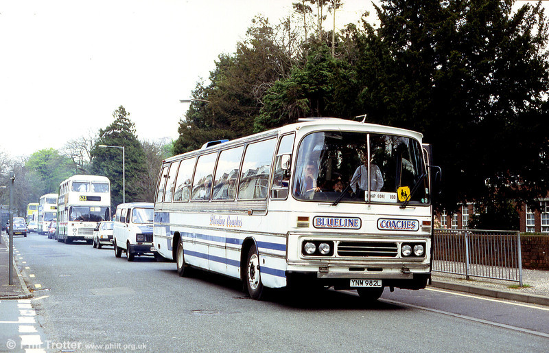 Blueline of Swansea operated this 1973 Ford R226/Duple C53F YNM 982L, formerly with Easton of Ramsgate.