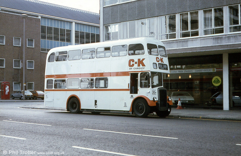 A second view of BED 724C in service with CK of Cardiff. The bus had been new to Warrington as their 43. CK eventually went into receivership in March 1982.