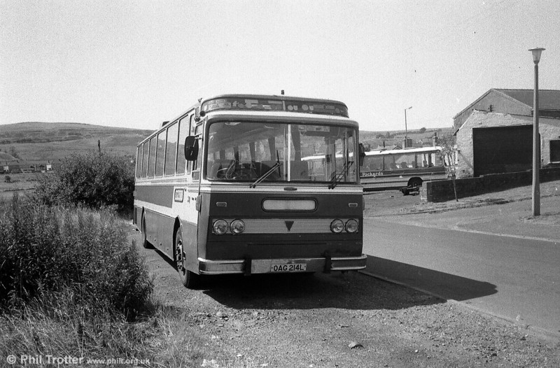 OAG 214L was one of nine AEC/UTIC U2043s imported into the UK by dealer Moseley's. Originally with Woods of Largs, the coach was photographed with Richards of Brynmawr during the 1980s.