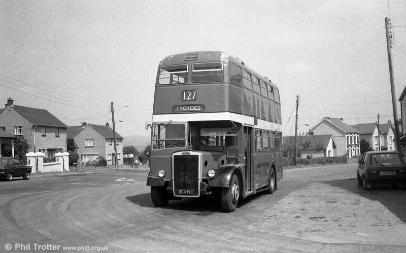 This former Brighton Leyland PD2/Weymann H37/27F DCD 19C passed to West Wales Motors, Tycroes, where it was photographed.