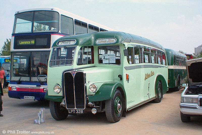 This Regal III 9621A with 33 seat Burlingham body was built in 1950 for Gillet of Quarrington Hill. This model was introduced in 1947 as a single deck version of the Provincial Regent III and continued production until 1957. LPT 328 has a 9.6 litre engine with 4 speed sliding mesh gearbox. It has been restored by Silver Star of Caernarfon and was photographed at Swansea Festival of Transport on 19th June 2005.