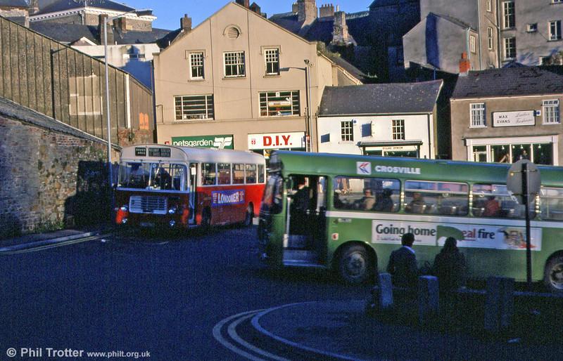 Crosville and Davies Bros. Bristol LHs meet at Carmarthen Bus Station.