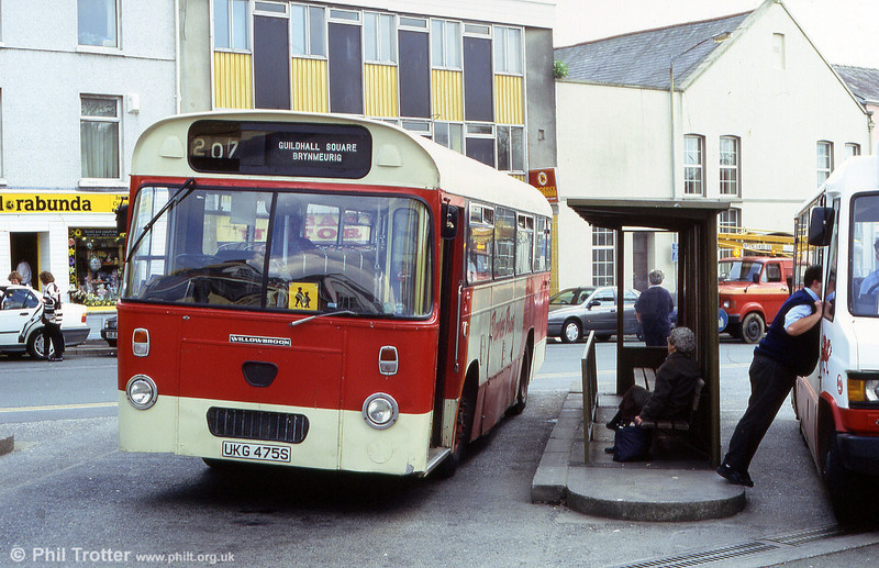 A second view of Davies Leyland Leopard/Willowbrook B43F 222 (UKG 475S) at Carmarthen Bus Station.