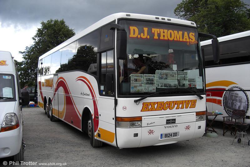 D.J. Thomas (Neath) had this Volvo B10M /Van Hool C49Ft as its 54 (8124 DD), seen on 15th June 2008. It was originally registered Y624 THS.