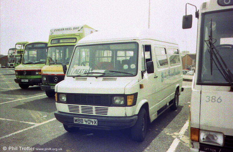 Brian Isaacs Mercedes minibus MBB404X at Swansea on a service to Neath.