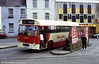Davies Bros., Pencader, had this Willowbrook B43F bodied Leyland Leopard 222 (UKG 475S) secondhand from Rhymney Valley (no. 75) in 1989. It was photographed at Carmarthen bus station.