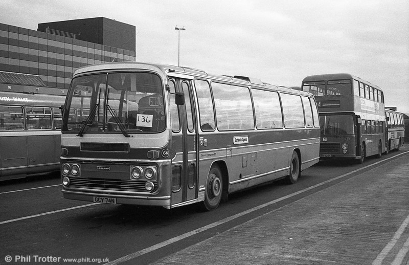 West Wales Motors, Tycroes 66 (GCY 74N) was a Leyland Leopard/Plaxton C53F dating from 1974.