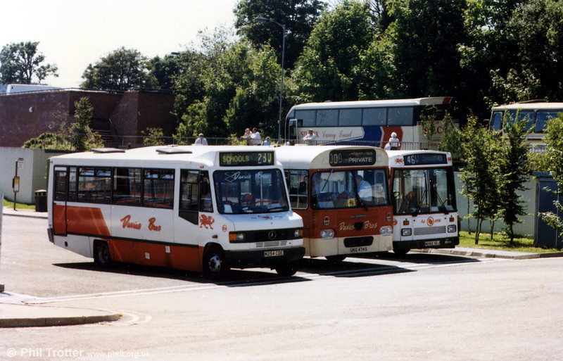 A Davies Bros. line up at Carmarthen Bus Station. Nearest the camera is 254 (M254 CDE) a Mercedes 811D/Mellor B31F.