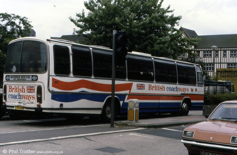 A glimpse of the short-lived British Coachways livery. British Coachways was set up to rival National Express. FTH 999W was a Volvo B58/Plaxton C57F new to Morris Bros., Swansea.