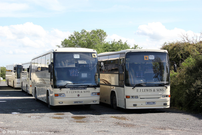 E. J. Lewis, Maenclochog S610 VAY, A Dennis Javelin/Marco Polo C55F new to Horseman, Reading and N104 CSN a Volvo B10M/Jonckheere C53F which was new to Smith, Coupar Angus at Maenclochog on 9th June 2012.