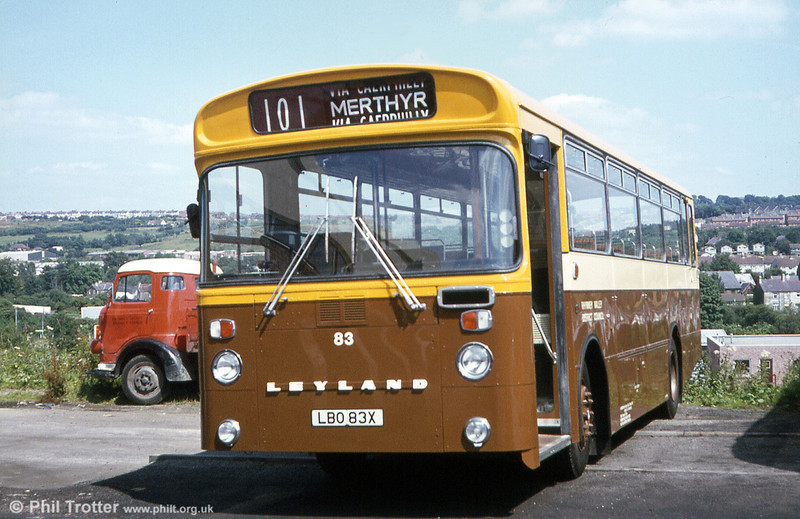 Rhymney Valley District Council 83 (LBO 83X) was the third of the 1981 Leyland Leopard PSU4F/2Rs with East Lancs B47F.