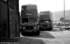 Examples of Metro-Cammell and Longwell Green bodies at Glyntaff depot. Nearest the camera is AEC Regent V/Metro-Cammell H34/26F 6 (NNY 763E) and behind is 94 (GTX 937D) with Longwell Green H34/26F.