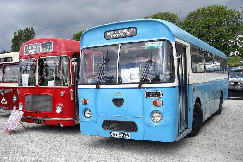 Former Islwyn Borough Council 34 (DNY 534V), a 1980 Leyland Leopard/Marshall B45F at Swansea on 15th June 2008.
