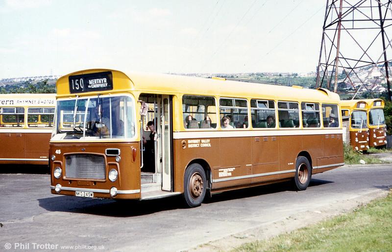 Rhymney Valley District Council Bristol RESL6G/ECW DP44F 45 (NKG 245M). This was formerly in the Gelligaer fleet.