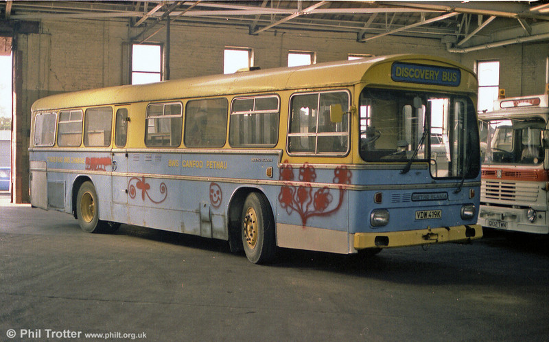 Former Newport 19 (VDW 419K), a Metro Scania B40D dating from 1972 and later used as a playbus, seen at SWT's Ravenhill Depot, Swansea.
