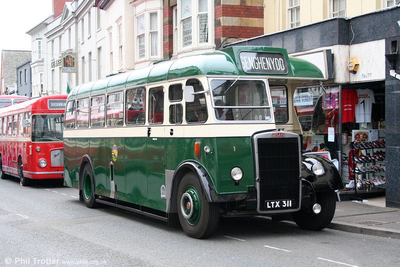 Caerphilly Urban District Council 1 (LTX 311) was a Leyland Tiger PS2 with Massey B35F bodywork. Now preserved, the vehicle is seen at Abergavenny on 4th May 2009.