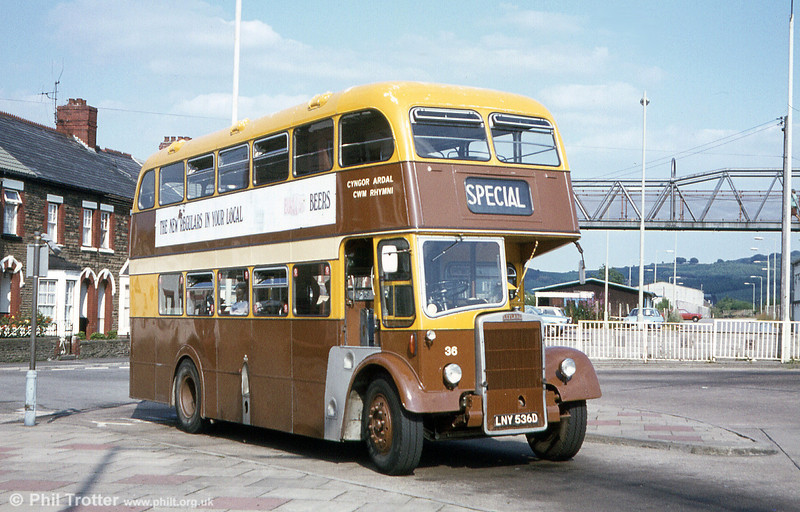 RVDC 36 (LNY 536D), a 1966 Leyland PD2/Massey L31/29RD seen on home ground at Caerphilly Bus Station.
