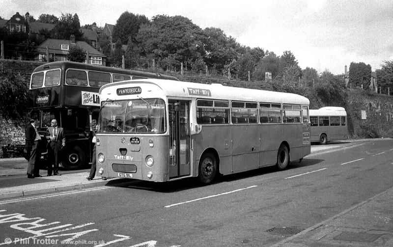 Taff-Ely 9 (GTG 91L), a 1972 AEC Reliance/Willowbrook B45F at Pontypridd Bus station.