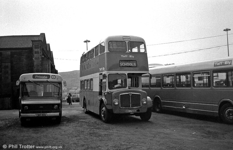 Taff-Ely 2 (NNY 759E) at Glyntaff depot, a Metro-Cammell H34/26F bodied AEC Regent V of 1967.