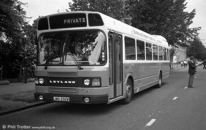 Merthyr Tydfil 232 (JWO 232W), a 1980 Leyland National 2/DP44F, a former Motor Show exhibit.