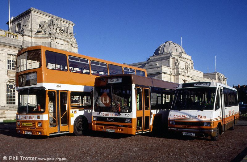 A trio of 1990s Cardiff classics. Left to right: 607 (G607 KTX), a Scania N113/Alexander H47/33F, 255 (G255 HUH) a Leyland Lynx B49F and 166 (G166 HWO) an Optare Metrorider/B31F.