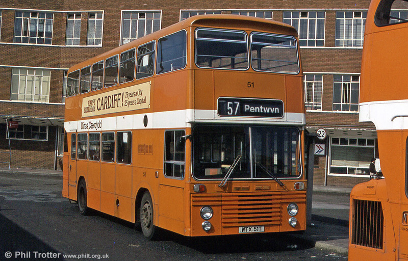 Cardiff's 51 (WTX 51T) was a Dennis Dominator/East Lancs H43/31F purchased in 1978 as a trial vehicle. It remained the sole example of the type in the Cardiff fleet.