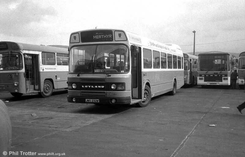 Seen at Merthyr's depot is 232 (JWO 232W), a 1980 Leyland National 2/DP44F.